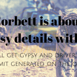 corbett is about to give gypsy and driver details with permit